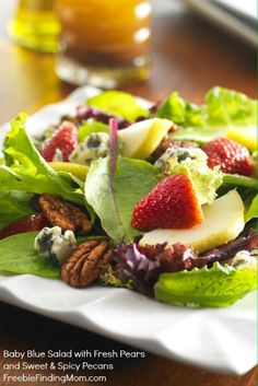 Baby Blue Salad with Fresh Pears and Sweet & Spicy Pecans. This makes a delicious and beautiful holiday salad. #springforpears