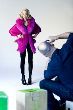 On the set with Saks!  Model Carmen Kass relaxes in the moment