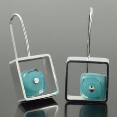 Items similar to Earrings Modern Square Glass and Silver, Gift for Wife in Red, Statement Earrings, Geometric Earrings, Handcrafted by Kristin Perkins on Etsy Jewelry Booth, Glass Jewelry, Unique Jewelry, Lampworking, Glass Art, Beads, Handmade Gifts, Box, Earrings