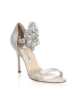 Manolo Blahnik - Zullinsan Embellished Satin Sandals