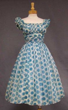 """Vintage 50's blue polka-dot cocktail dress""  So cute."