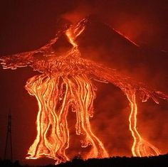 Etna's fingers of fire: Europe's most active volcano sends molten lava streaming menacingly down its mountainside Etna Eruption, Etna Volcano, Hiroshima, Pyroclastic Flow, Die Eifel, Cool Pictures, Cool Photos, Thunder And Lightning, Lava Flow