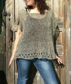 Linen loose top for women, Hand knitted poncho sweater, Oversize summer top, Boho poncho knit Loose Knit Sweaters, Poncho Sweater, Knitted Poncho, Jumper, Summer Knitting, Hand Knitting, Knitting Ideas, Plus Size Summer Tops, Lace Top Dress