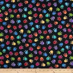 Timeless Treasures Cats Paws Black from @fabricdotcom  From Timeless Treasures, this cotton print is perfect for quilting, apparel and home decor accents.  Colors include black, blue, pink, purple, red, orange, green and yellow.9.48