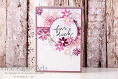 Stampin up - Grußkarte, greeting card, Stempelset Durch die Blume, Framelits Formen Stickmuster - Fine Paper Arts