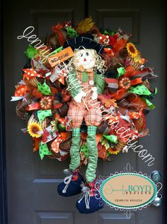 Fall Autumn Scarecrow Deco Mesh Wreath by Jennifer Boyd Designs.  www.etsy.com/shop/jenniferboyddesigns www.facebook.com/jenniferboyddesigns