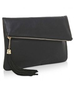2ad5fa3aa8f Foldover Clutch Purse   Fashion Evening Handbag with Tassel - Black -  CZ12LVB42UH