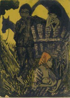 Otto Mueller, Zigeunerfamilie am Planwagen, 1926/1927, Auktion 1070 Moderne Kunst, Lot 318