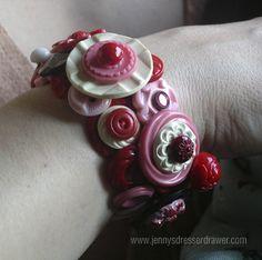 My Beautiful Baby Daughter  vintage button bracelet by Jen Wojtowicz #vintagebuttonbracelet #JenWojtowicz #buttons