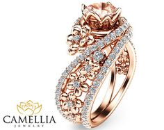 Unique Rose Gold Morganite Engagement Ring 14K by CamelliaJewelry
