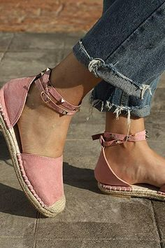 Flat Rope Soled Cotton Espadrilles w/ Studded Ankle Strap - Whatlovely Fancy Shoes, Cute Shoes, Me Too Shoes, Strappy High Heels, Studded Heels, Closed Toe Summer Shoes, Best Golf Shoes, Cute Sandals, Sandals Outfit