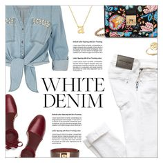 """""""Bright White: Summer Denim"""" by petrapoly ❤ liked on Polyvore featuring ZAK, Tory Burch, Jane Basch, Bing Bang, Lanvin, whitejeans, polyvorecommunity and PolyvoreMostStylish"""