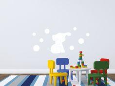 7- Sweet Elephant  Un raffinato elefante rende magica la cameretta dei piccolini. Rosa o Celeste? Decorazione adatta a bambine e bambini fino ai 13 anni.  Misure max: H 100 cm x L 140 cm