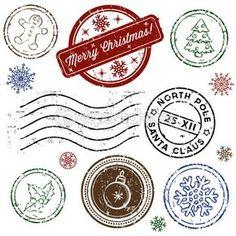 Set de Navidad sello aislado en blanco. Vector — Ilustración de stock #7932350