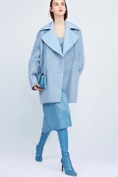 This is an example of monochrome because the model is wearing an all baby blue outfit.