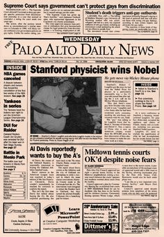 Nobel Newspaper Articles - Palo Alto Daily, 14 Oct 98