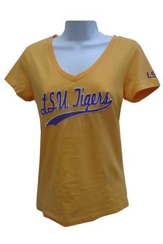 ac6ffec2b7c6 Colosseum LSU Tigers Womens Gold Jolt V-Neck T-Shirt - LSU Womens Apparel -  PURPLE AND GOLD SPORTS