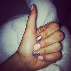 Thumbs up to my new nails!! Couldn't decide on silver or gold sparkles so got both! #nails #calgel #ibiza #beauty #sparkle