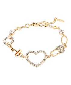 Take a look at this Gold Heart & Key Bracelet With Swarovski® Crystals today!