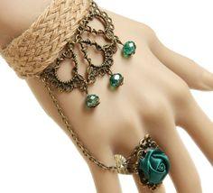 Vintage Hemp Rope Ribbon Alloy Pendant Rhinestone Bracelet Ring Jewelry Set