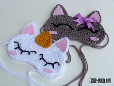 Cat & Unicorn Sleep Masks By Amy - Free Crochet Pattern - (ginger-peachy) Crochet Eyes, Crochet Mask, Crochet Unicorn, Crochet Gifts, Crochet Stitches, Crochet Hooks, Crochet Patterns, Crochet For Beginners, Crochet For Kids