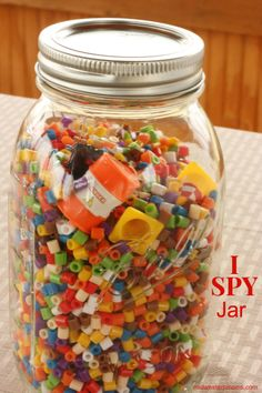 I love seeing my son's face light up as he searches this I Spy Jar for all the hidden items. See how to make your own I Spy Jar or Find It Jar.
