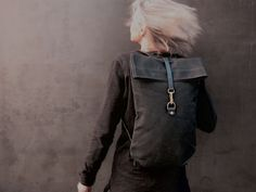 Postal canvas back pack. With leather bottom.Black.