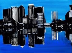 Canary Wharf at Night painting of london city landscape of canary wharf by Alex Borissov