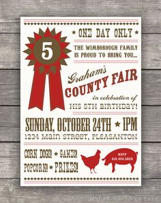 """County Fair Birthday Party """"Prize Ribbon"""" Invitation. $16.00, via Etsy."""