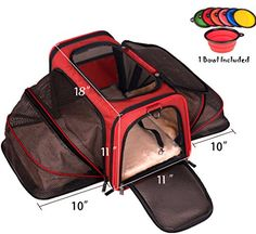 Premium Airline Approved Expandable Pet Carrier by Pet Peppy TWO SIDE Expansion Designed for Cats Dogs Kittens Puppies Extra Spacious Soft Sided Travel Carrier *** Check this awesome product by going to the link at the image. (This is an affiliate link) Airline Approved Pet Carrier, Airline Pet Carrier, Cat Carrier, Sling Carrier, Rabbit Carrier, Puppy Carrier, Pet Travel, Travel Bag, Airline Travel