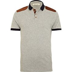 Grey marl shoulder patch polo shirt - polo shirts - t-shirts / vests - men