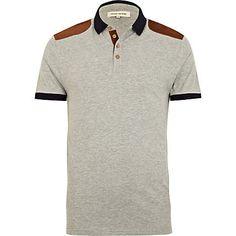 Grey marl shoulder patch polo shirt - polo shirts - t-shirts / vests - men