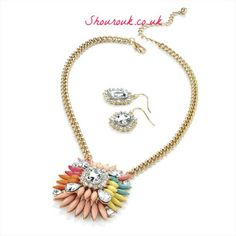Kiwi Set  Gorgeous Multi Coloured Pastel Acrylic and Crystal Shourouk Style Necklace with Earrings  Necklace 41cm x  Drop 6cm  Earrings 2cm