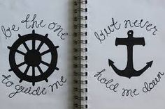 be the one to guide me, but never hold me down. this is the tatoo that my brother got Best Friend Tattoos, Sister Tattoos, Girl Tattoos, Tatoos, Thigh Tattoos, Wrist Tattoos, 16 Tattoo, Tatoo Art, Tattoo Ship