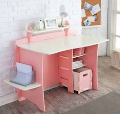 Sweet Modern Computer Desk Design With Lovely Pink Color Combined White Table And Book Shelf Also PC Storage Featuring Oak Side Shelving And Painted Brick Walls For How To Build A Small Desk Ideas Small Kids Desk, Kids Computer Desk, Ikea Kids Desk, Computer Desk Design, Desks For Small Spaces, Computer Workstation, Desk For Kids, Small Computer, Desk For Girls Room
