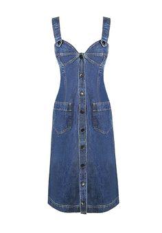 Vintage Chanel denim straight silhouette pinafore dress with side patch pockets. Vestidos Jumper, Denim Fashion, Fashion Outfits, Denim Ideas, Denim Overall Dress, Denim Top, Denim Outfit, Jeans Dress, Look Chic