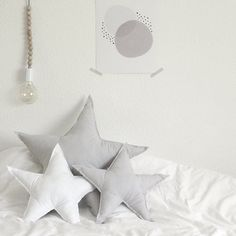 Create the perfect grey & white nursery with our Star Cushions (R150-R200) A3 Greyscale Print (R150) Wooden Bead Lamp (R900) & a set of 400 TC white bed linen (from R350). --- All available at monoshop.co.za.