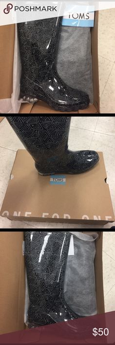 Brand New in Box! TOMS Rain boots Black white tribal print Cabrilla Rain boots in box with care card and sticker! Size 6 and size 8 available! TOMS Shoes Winter & Rain Boots
