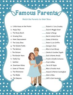 Famous Parents, Baby Shower Game, Celebrity Baby Game, Pregnant Mommy,  Blue, Poke A Dots, Instant Download, Couples Shower Game