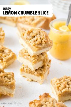 This Lemon Crumble Slice is zesty and bright and one of the most delicious lemon curd desserts. With a shortbread base and crunchy crumble topping, this lemon slice is easy to make too. Strawberry Desserts, Lemon Desserts, Lemon Recipes, Tart Recipes, Sweet Recipes, Strawberry Sauce, Easy No Bake Desserts, Easy Cookie Recipes, Baking Recipes
