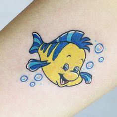 Flounder from the Little Mermaid for Jailene! Thank you! I want to tattoo more Disney characters. #tattoo #tattoos #tattoosofinstagram #inkstagram #disney #disneytattoo #disneyink #floundertattoo #thelittlemermaidtattoo #cutetattoo #cartoontattoo #tattoopeopletoronto #tattoopeople #torontotattoo #torontotattooartist