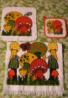 70s Mushroom Kitchen Towel Set. I had this set when I first got married in 75. Inspired me to paint mushrooms all over my vintage refrigerator.