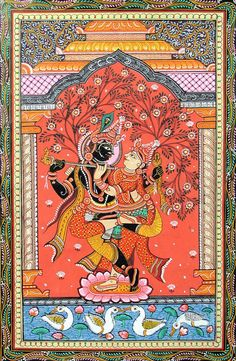 The Union of Radha and Krishna Orissa Paata Painting on Canvas (via Dolls of India) Madhubani Art, Madhubani Painting, Mandala Painting, Indian Traditional Paintings, Indian Art Paintings, Traditional Art, Ancient Indian Art, Indian Folk Art, Small Canvas Art