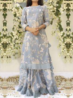 Steel Blue Cotton Kurta with Lehenga - Set of 2 Stylish Dresses, Simple Dresses, Fashion Dresses, Stylish Dress Book, Pakistani Dress Design, Pakistani Outfits, Indian Designer Outfits, Designer Dresses, Designer Kurtis