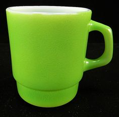 Fire King Green Fired-On Stackable Mug