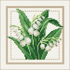 May - Lily of the Valley, Project 2010 - Flower of the Month, designed by Ellen Maurer-Stroh, from EMS Cross Stitch Design. My favorite flower. Free Cross Stitch Charts, Counted Cross Stitch Patterns, Cross Stitch Designs, Cross Stitch Embroidery, Free Charts, Hand Embroidery, Machine Embroidery Patterns, Cross Stitch Flowers, Lily Of The Valley