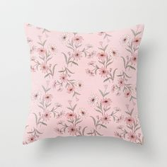 Unite Our Hearts Pink Floral Throw Pillow by Correen Silke...