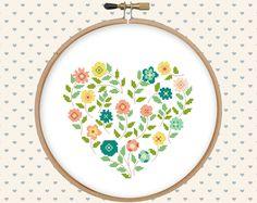 Flower heart cross stitch pattern pdf pillow embroidered