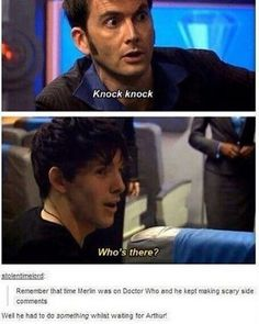 Only episode of Doctor Who that I've seen and Colin Morgan and David Tennant are golden, everyone else may as well not be there Merlin Funny, Merlin Memes, Colin Morgan, Fandoms, Merlin And Arthur, King Arthur, Merlin Fandom, Fandom Crossover, Interview