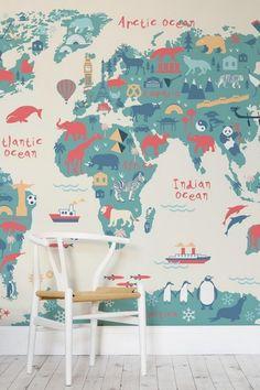 Nursery conception Idées carte du monde murales animaux blancs de couleurs pastell